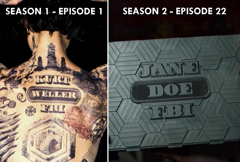"""I noticed a little reference to the pilot. The first tattoo we really see is """"KURT WELLER, FBI"""". And guess what's written on the mystery box Kurt handed to Jane : """"JANE DOE, FBI"""". And it's written with the EXACT SAME typeface AND layout!!! That's brilliant, BRILLIANT!!!!! It's a sign!!!!!  Also, that might the reason why both Jane and Kurt could open the box. Both names have been written the exact same way so that's a connection, isn't ? What do you think ?"""