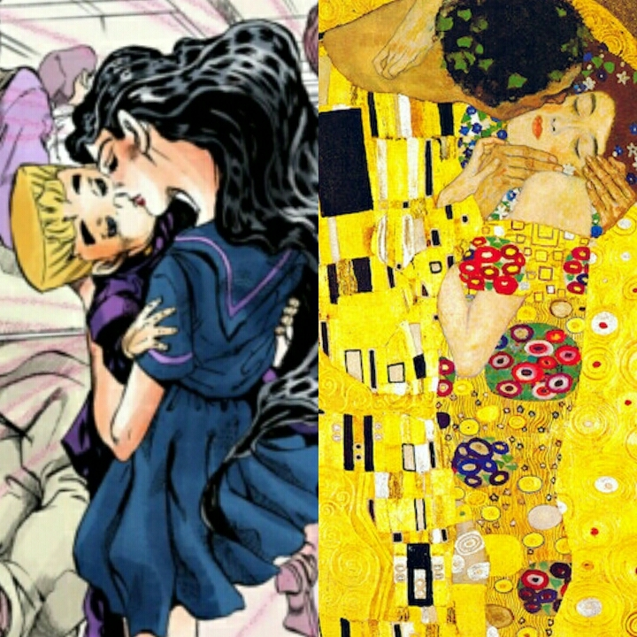 Parallelism   JJBA - Diamond is unbreakable  Gustav Klimt - The Kiss  I really loved all Art Nouveau references of this episode