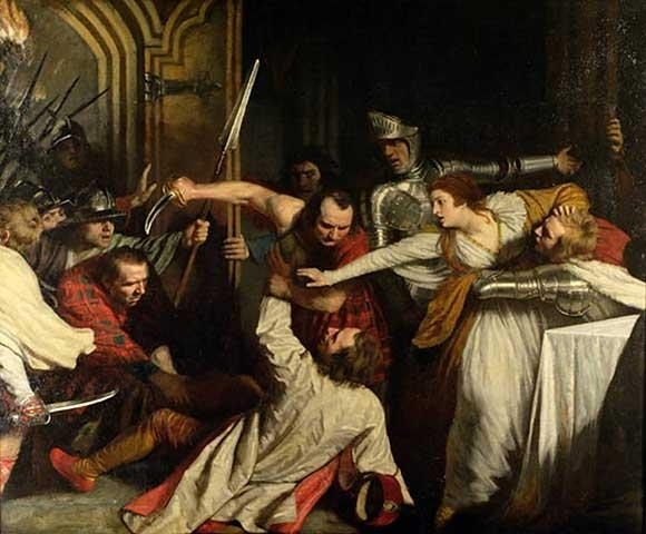 "Rizzio's death made me think of the painting ""The murder of David Rizzio"" by John Opie, well reproduced"
