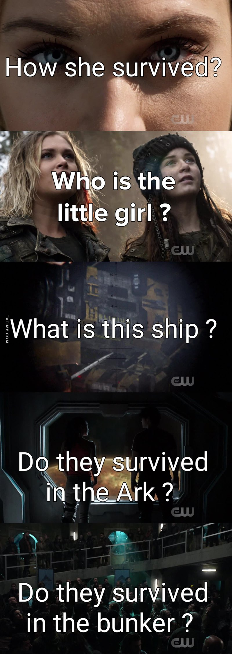 So I will try to answer to some of the many questions this Season finale let us with ! (Based own my own reflection and what I have seen so far in the internet with answer that are 90% sure !) Don't be afraid to comment your theories !  1) How Clarke Survived ? Nightblood.  2) Who is the little girl ? A natblida that they parents probably hide from the Conclave. She is called Madi and I guess she is between 10 and 15 years Old. No she is not Clarke's daughter, but they will have probably a mother-daughter relationship or at least a mentor-apprentice relationship  3) What is this ship ? It's from Eligius Mining Company, this is the company for which Becca created Nightblood. It's a mining company that use prisoner injected by Nightblood as miner. So we could assume that they survived Praimfaya !  4)Do the 7 survived on the Ark ? Probably, they have probably problem to go back to Earth. They will probably take whole Season 5 to get back to Earth.  5)Do wonkru survived in the Bunker ? Probably too, they have to get rid from all the ruin of the Polis Tower to get out, so it's explain why they are still not out.