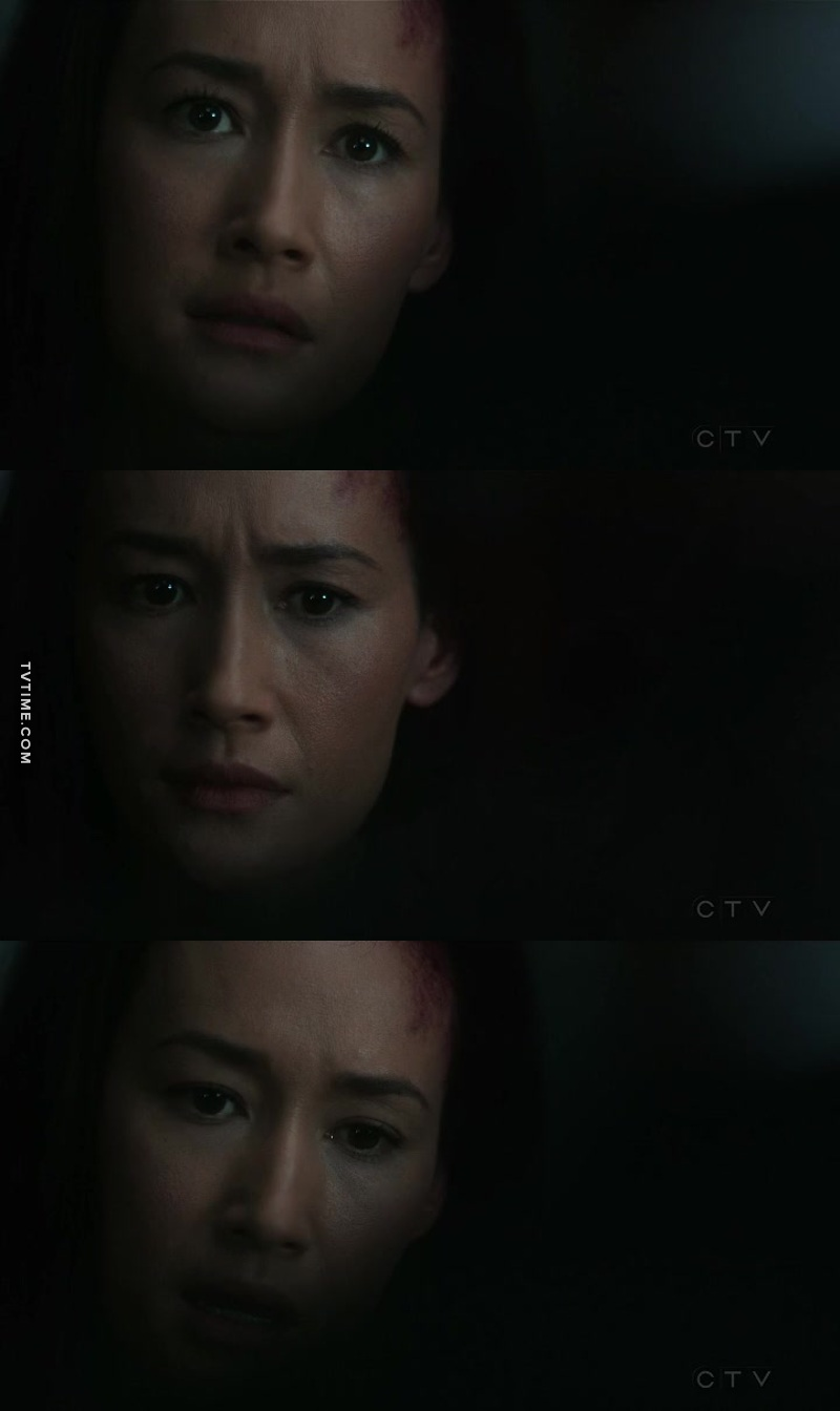 Maggie Q with same look we all had when Trump was named President