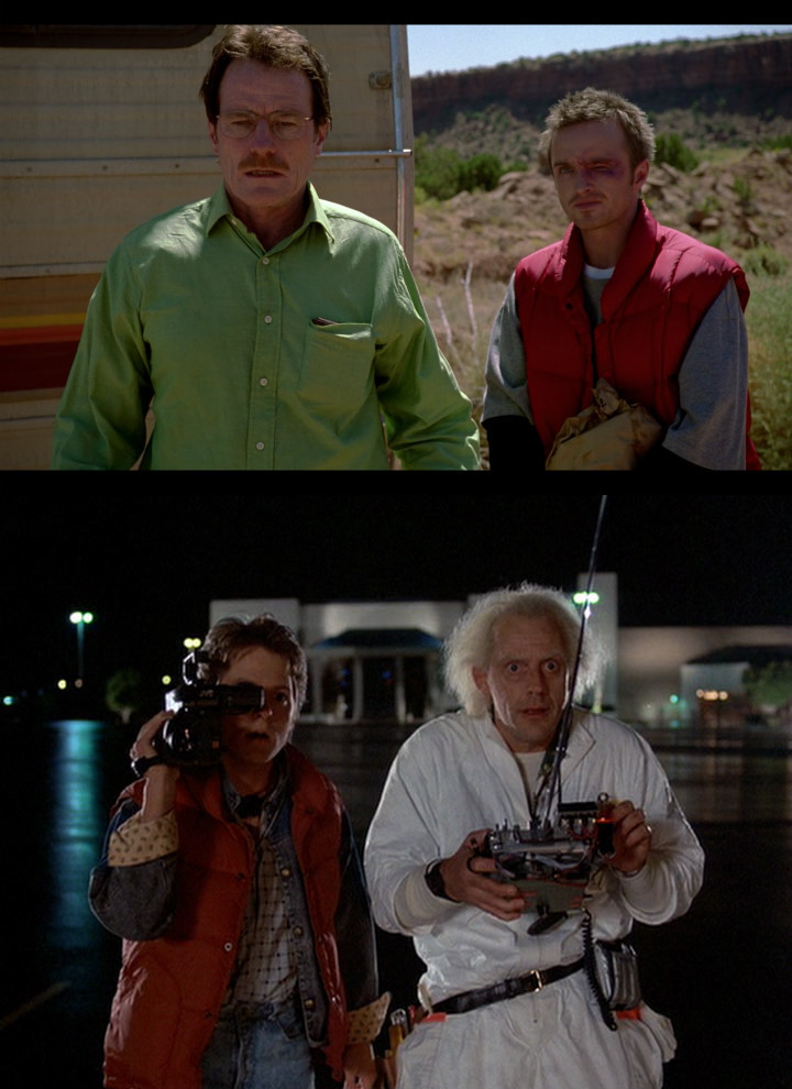 A man of science and a boy with a red jacket and a video camera