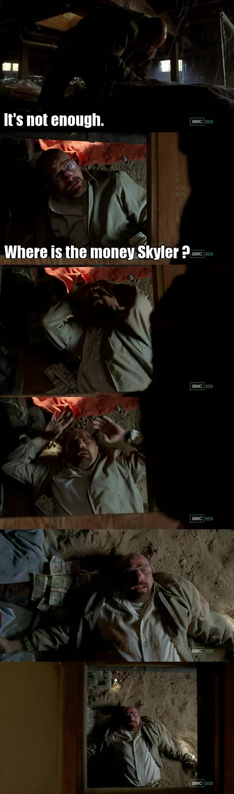 The BEST episode so far... The first 35 minutes were above ordinary, but the last 10 minutes were breathtaking. The agony. Gus letting Walt go. Walt going to Saul. Returns home and finds basement empty. Begins to cry and turning into a psychopath Joker laughter echoing through the house. AMAZING !!!