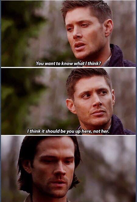 Noooooo Dean Nooooooooo. Don't do this. Look how hurt sam is 💔💔💔💔.. I mean c'mon, Dean. It's not like you weren't the one who got Kevin killed in order to save your brother! 😭