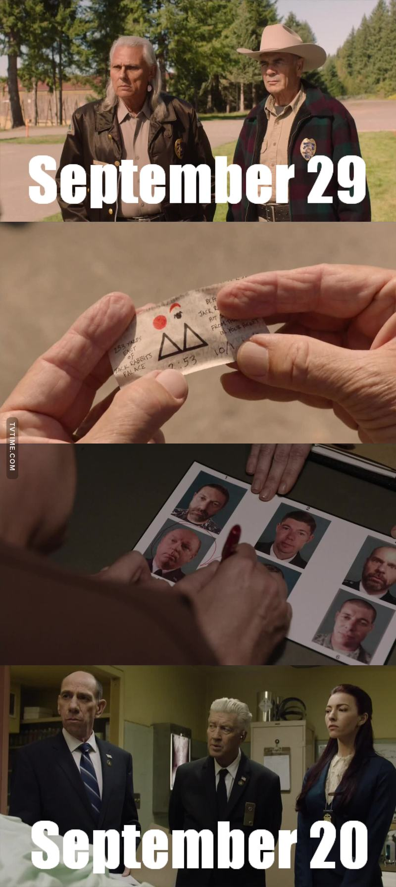 Now we understand that Twin Peaks has two different timelines. While Sheriff Truman mention their current date is SEPTEMBER 29, Agent Tamara asks Hastings to write the actual date and it's.. SEPTEMBER 20.