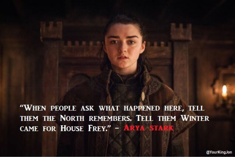 """""""Leave one wolf alive and the sheep are never safe."""" - Arya Stark"""