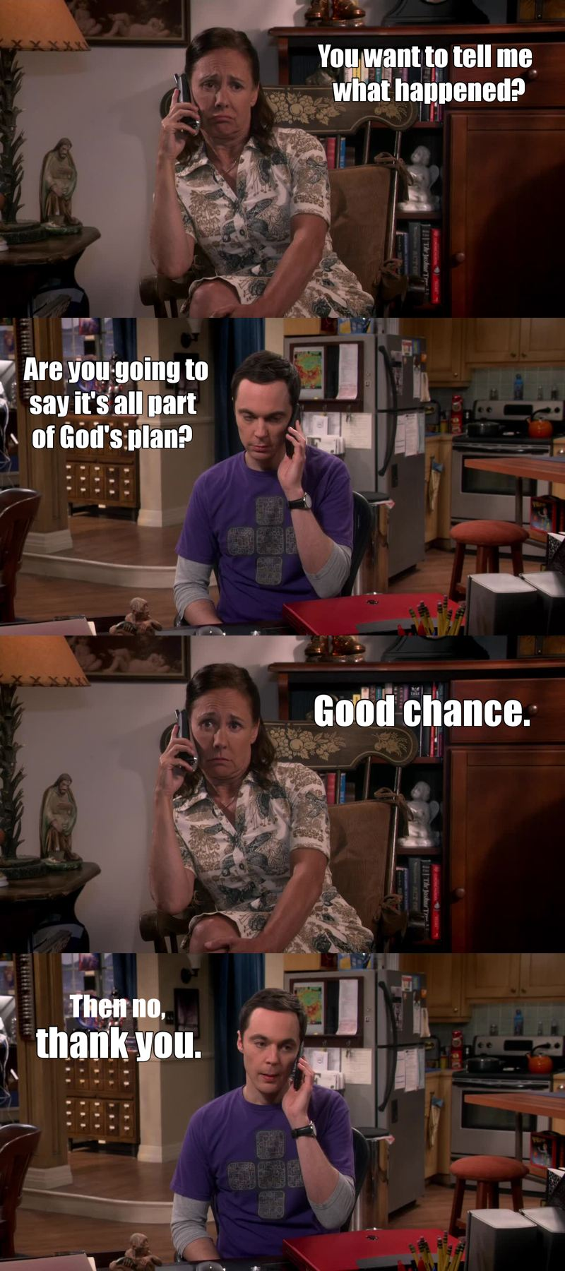 First episode in the season, and we already get to see Sheldon's mom, even if it was just for a minute. I love her, I can't get enough of this woman. She's so funny!