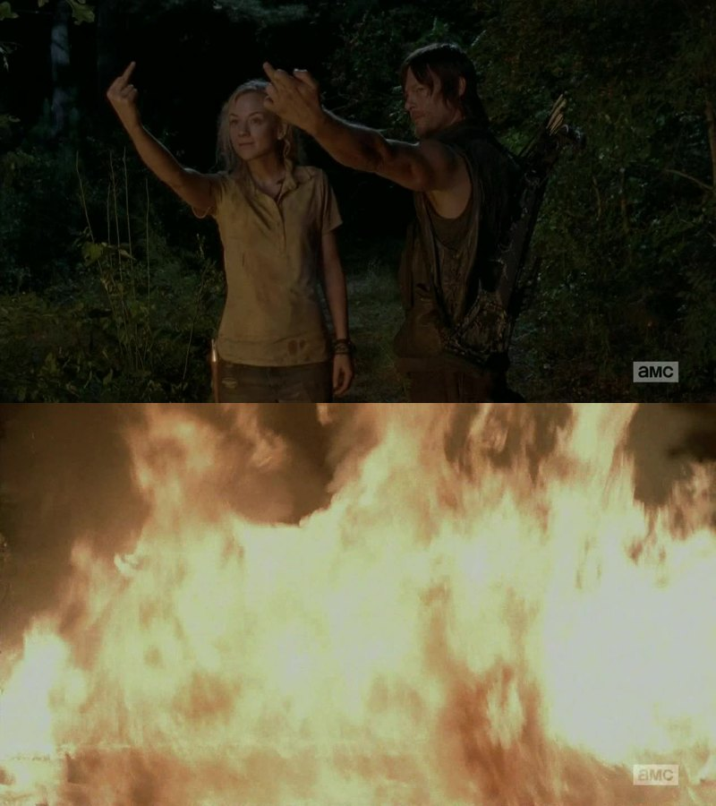 Best scene of the episode. Finally burning the past along with this fire.