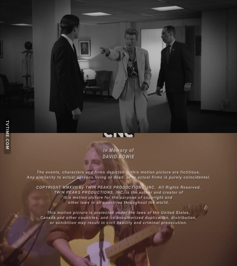 The legends of both Philip Jeffries and the late great Mr. Bowie remembered in a wonderful scene.