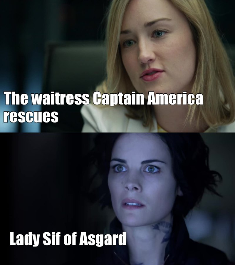 OMG, I just realized where I have seen Patterson before. She was the waitress in the first Avengers movie. Ofc, Jane Doe is Lady Sif. Small world! #MCU