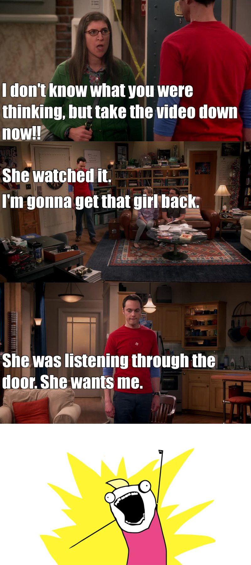 I love the fact that Sheldon can't give up on Amy <3