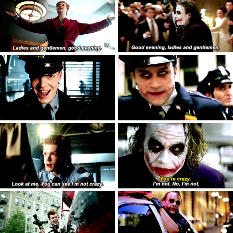 coincidence????? I THINK NOT. Cameron Monaghan is killing it so far. His similarity to Heath Ledger is amazing.