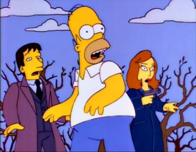 One of my favorite episodes!! Love the X-Files, love Fox Mulder and Dana Scully!!! They're the best!!!  Oh and right... I love Homer as well!!