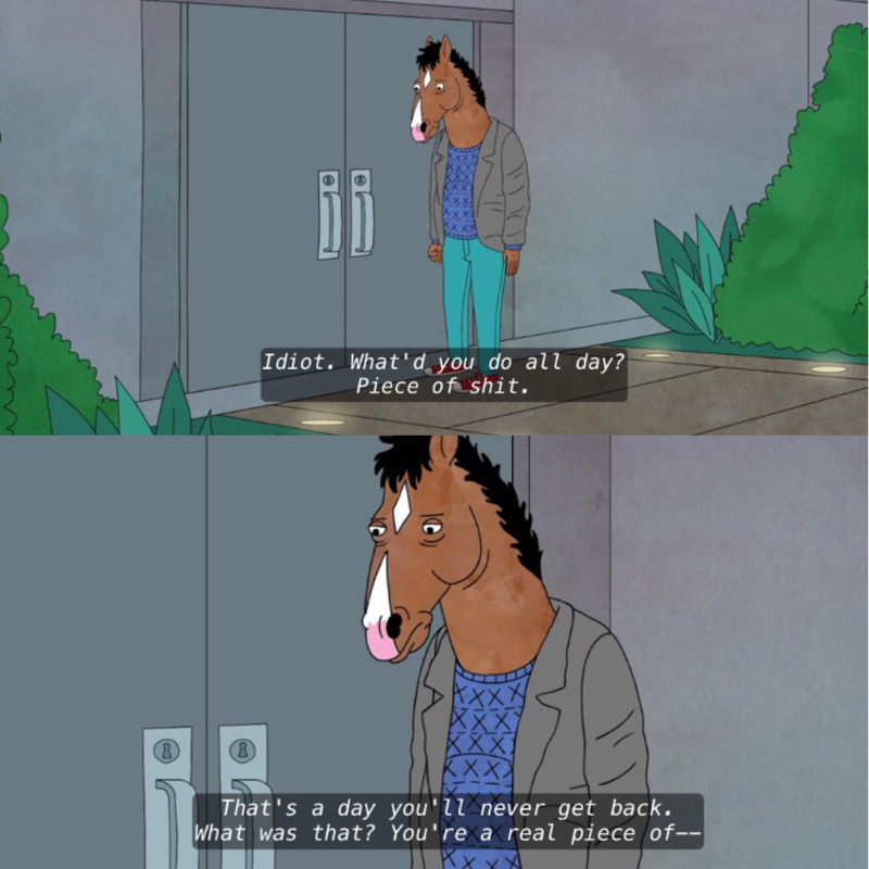 Me when I realize I've spent my whole day watching Bojack Horseman:
