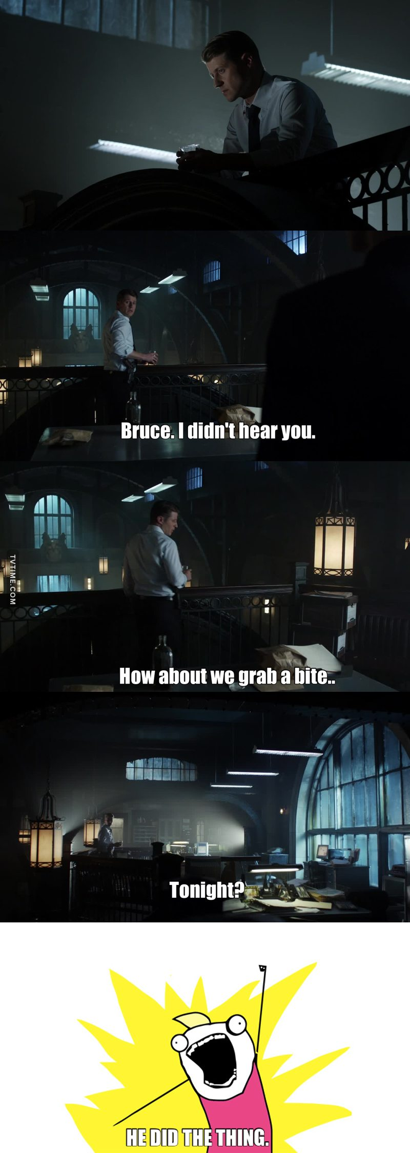 He did the thing. Holy shit he did the thing. In case you don't know what I'm referring to, one of my favourite aspects of the Gordon-Batman relationship is how Batman disappears without a sound, leaving a bewildered Gordon in his wake. AND THEY DID IT. I'm looking forward to this season of Gotham more than anything else. 👏👏