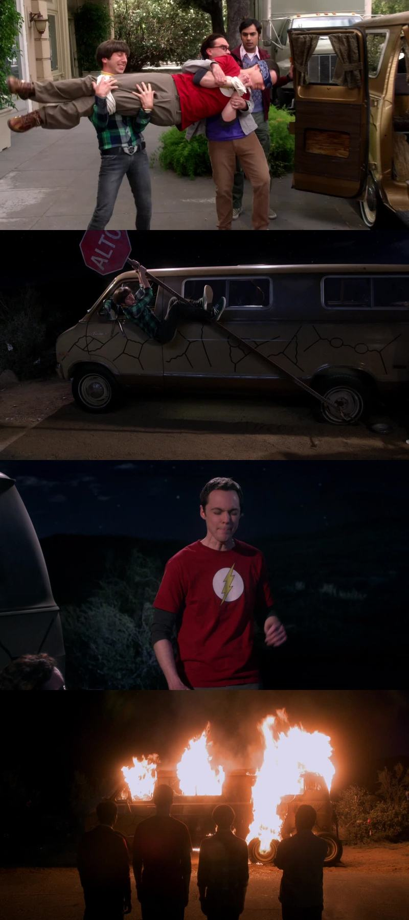 Kidnapping Sheldon,  singing a song,  burning a Van.  The Best week end.