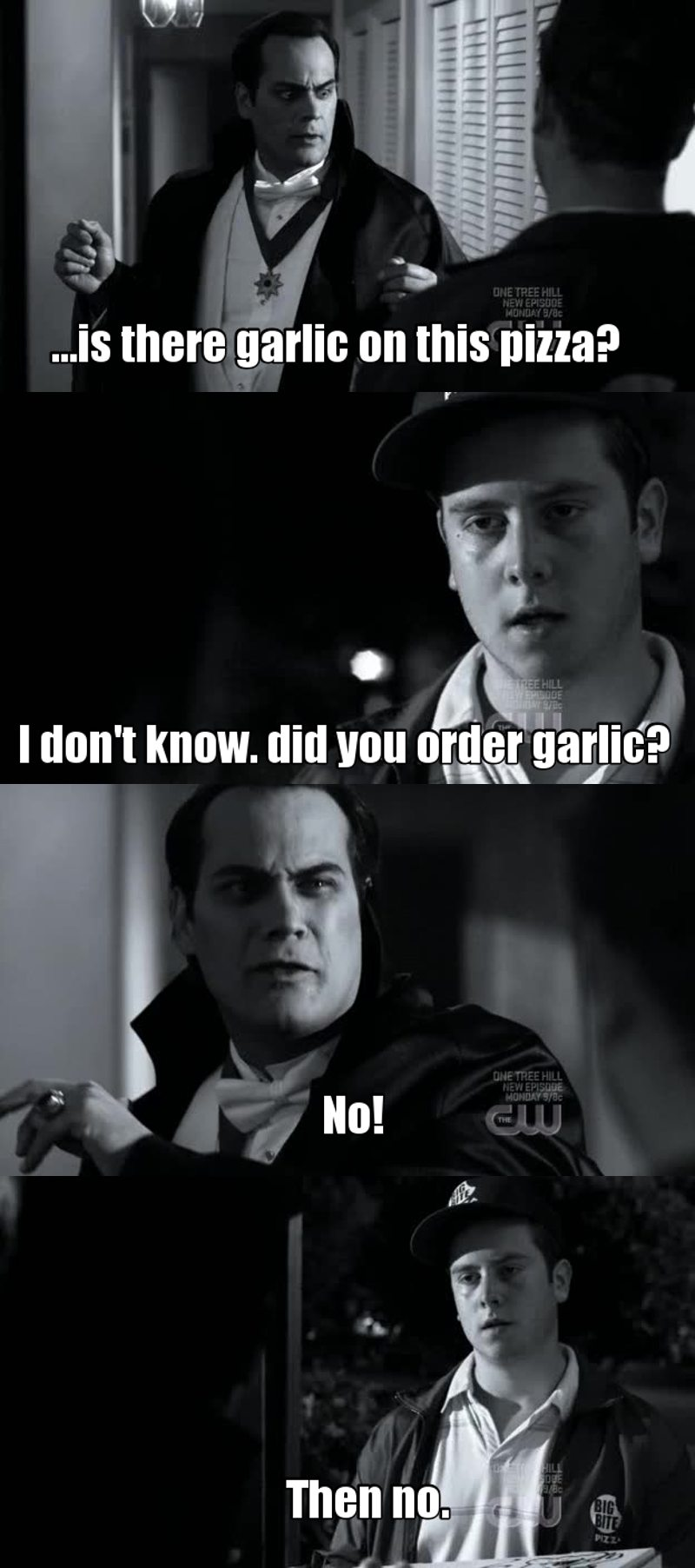 Haven't seen the episode but couldn't resist to make a meme on the vampire/pizza delivery moment! Hilarious...