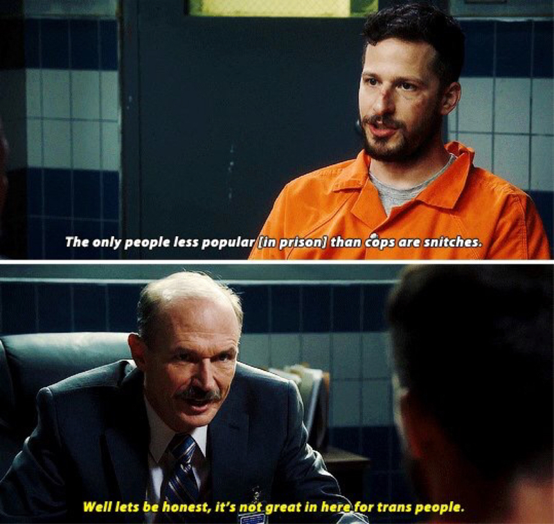This moment was everything. They managed to criticize everything that is wrong with the penitentiary system whilst making jokes and using comic relief. This right here is why I love this show.