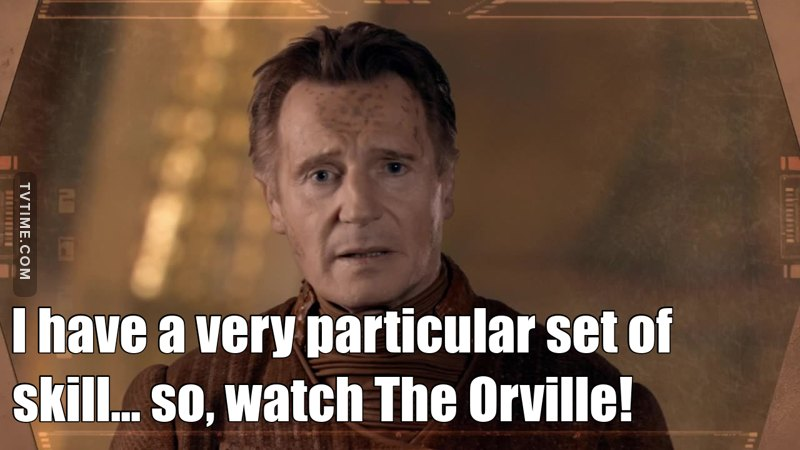 """I'm amazed at the evolution that The Orville is having. Throughout the episodes, it has been consolidating with a sci-fi series theme, which is complete contrary to what """"specialized criticism"""" reported, I believe they expected a comedy pure and simple, just because the creator and protagonist Mr. Seth McFarlene. This episode had an action, a certain atmosphere of intimacy among the characters, I detect a certain admiration of Alara for Capitan Mercer, Isaac curiosity for the sexual life of Capt. Mercer and Commander Grayson. The story of the episode, in relation to the navae giant they encountered, the development of a society within it, unaware that they were on a ship, was a very good thing to see, and possibly could revisit the ship in future episodes. Very good episode .. And besides, it was the presence of LIAM NEESON. """"I have a very particular set of skill"""""""