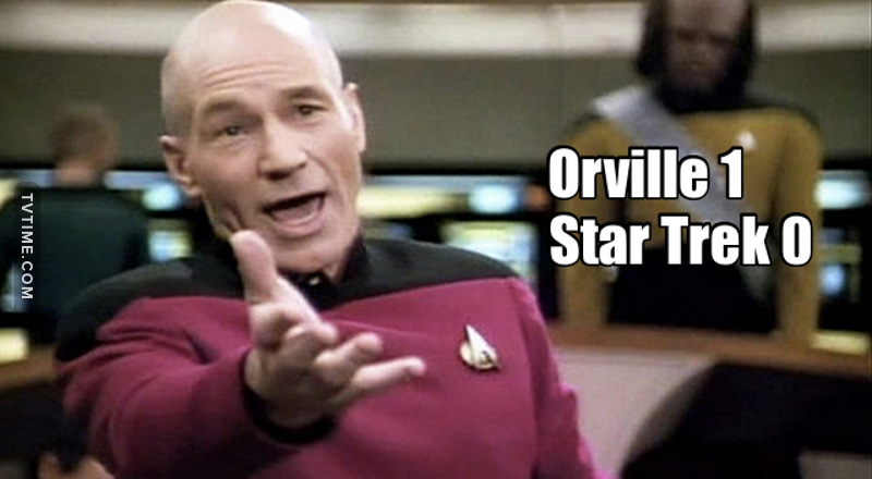 While Star Trek Discovery has chosen to take the doom and gloom trend with dark surrounding, premises and gloomy outlook. The Orville picked up the utopian constructive future that Star Trek used to be, with a positive spin that leaves you with a happy feeling. I m so glad there is this option, The Orville even if it is supposed to classified as a comedy show, is a better Star Trek than the new Star Trek is.