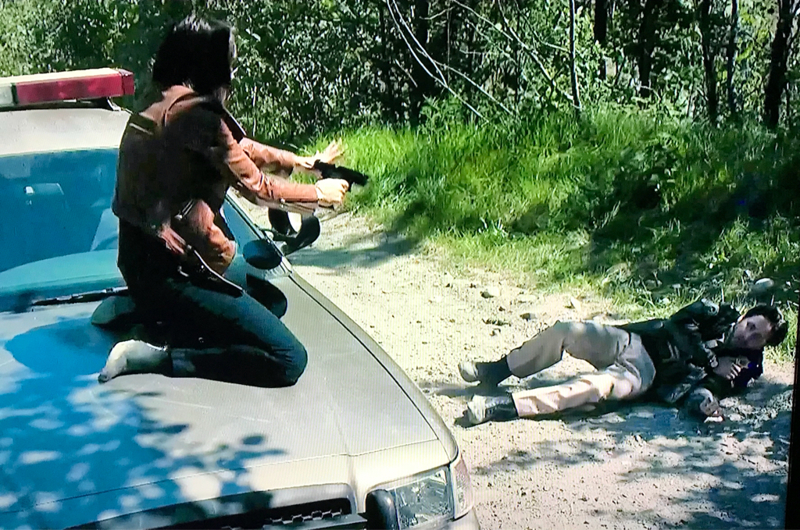 😳 Norm:  You shot me! Marilyn:  Norm!  I'm sorry!  These two idiots shooting at each other had me laughing.  😆😜