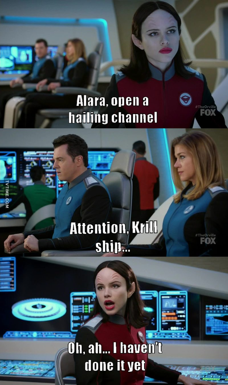YES!!! 😂 Its always annoyed me how the captain just start talking directly after ordering an officer to hail/open a con/etc to another ship.  I always wondered if the guys on the receiving end just gets the second part of the greeting and simply rolls with it becuase they're so used to the idiot captains out there. 😝