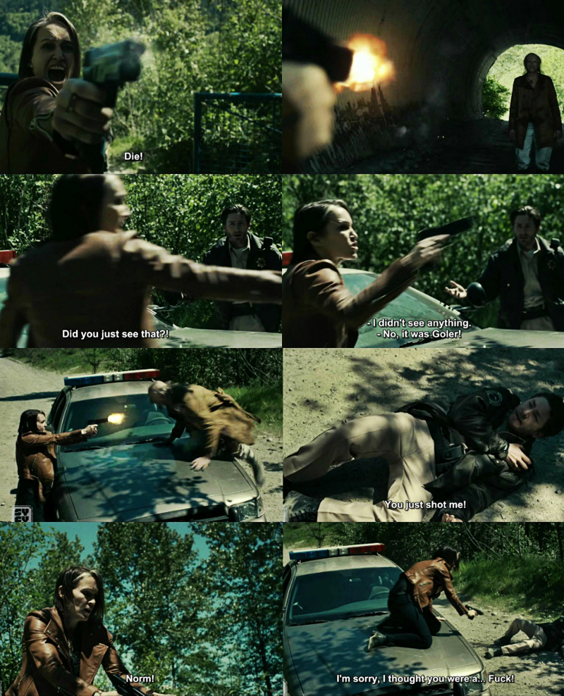 OMG. This was scary but at the same time hilarious when she starts shooting at him like crazy! 😆😜