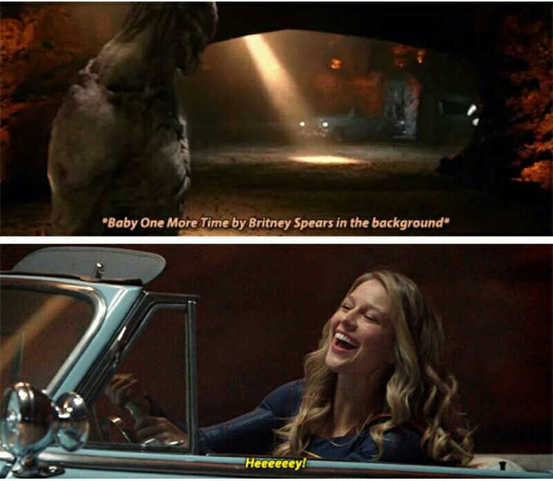 Melhor cena e melhor plot vc saber q Kara é fã da Britney... prevejo um episodio so com músicas da britney... não pera é Supergirl não Glee