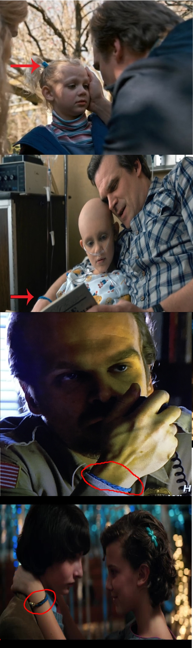 OMG Hopper gave Eleven his daughter's blue hair ribbon. The one he's been wearing around his wrist since she got sick !  So many feels ♥ :'(