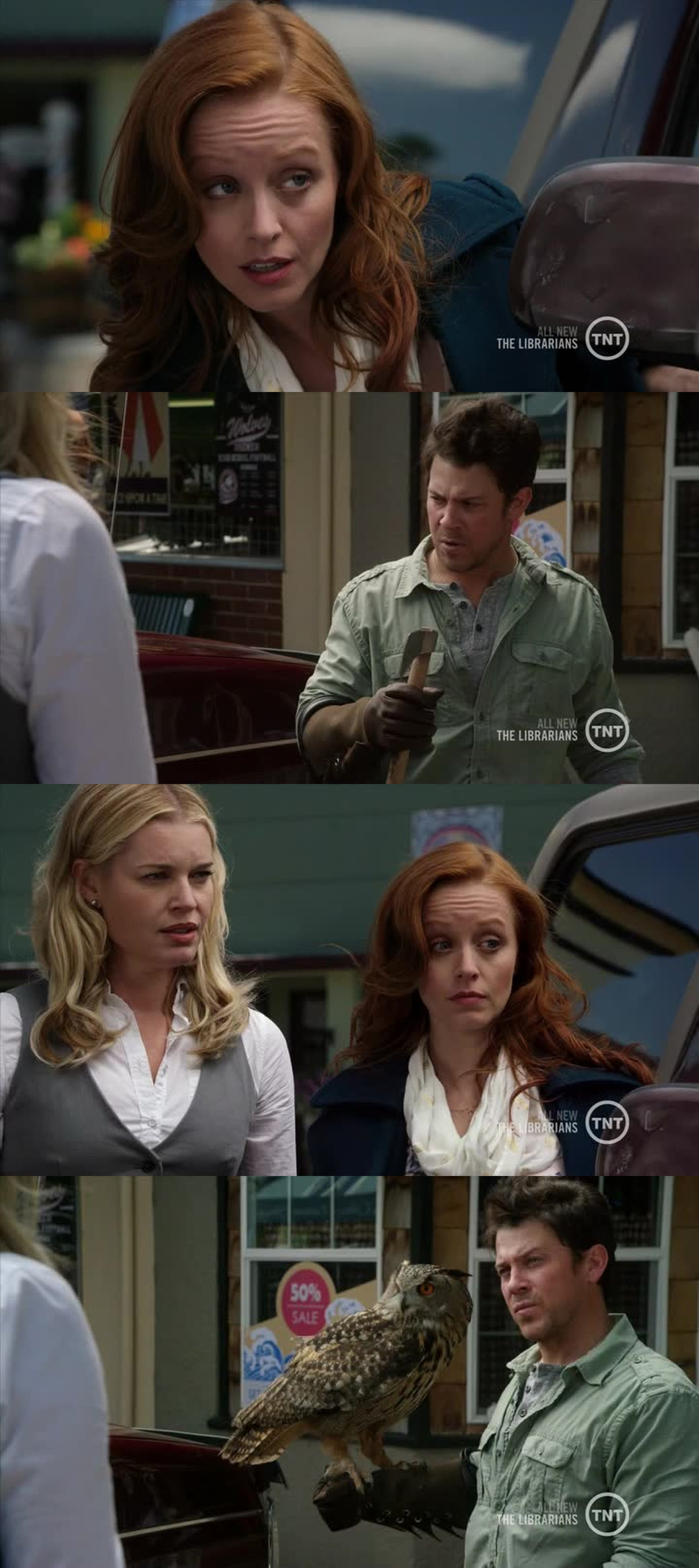 """""""We're being strange? Where'd you get the axe??"""" """"There's bird on you."""" LOL #TheLibrarians"""