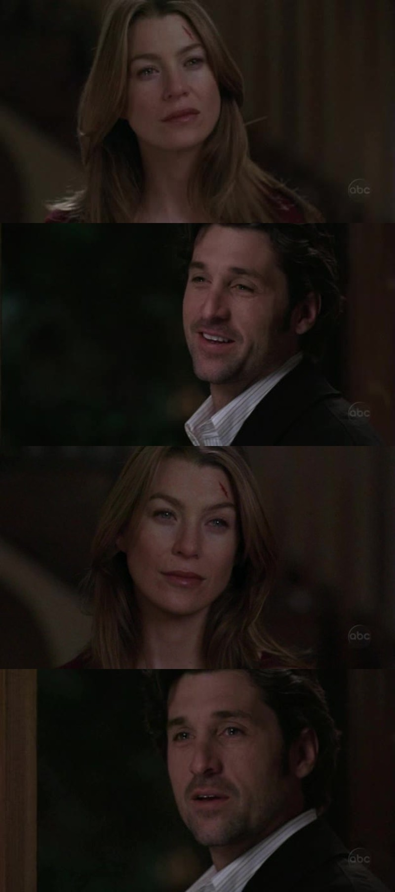 "Meredith: I can't, I can't remember our last kiss. All I could think about was, ""I'm going to die today and I can't remember our last kiss,"" which is pathetic. But the last time we were together and happy, I... want to be able remember that, and I can't Derek. I can't remember. Derek: I'm glad you didn't die today. [...]  It was a Thursday morning, you were wearing that ratty little ""Dartmouth"" T-shirt you look so good in, the one with the hole in the back of the neck. You'd just washed your hair and you smelled like some kind of... flower. I was running late for surgery. You said you were going to see me later, and you leaned to me, you put your hand on my chest and you kissed me. Soft. It was quick. Kind of like a habit. You know, like we'd do it everyday for the rest of our lives. And you went back to reading the newspaper and I went to work. That was the last time we kissed.  BEST. SCENE. EVER."