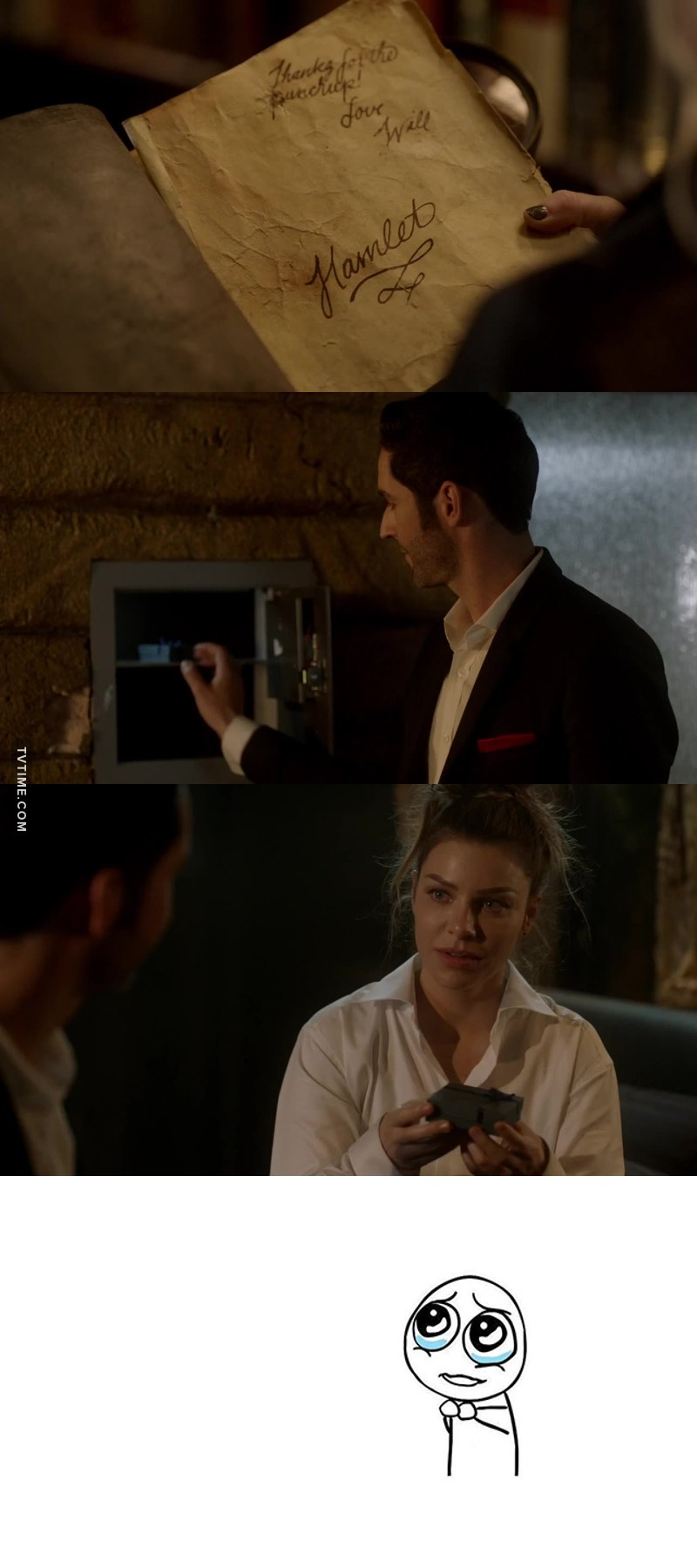 Okay, so... Lucifer literally has a signed copy of Hamlet from WILLIAM FREAKING SHAKESPEARE and an entire loft full of rare and precious artefacts and THE ONLY THING  he keeps in his safe is THE LITTLE NECKLACE HE MADE FOR CHLOE FOR HER BIRTHDAY 😍😇 THIS IS THE SWEETEST THING IN THE WORLD AND MY HEART JUST CAN'T TAKE THIS 💗