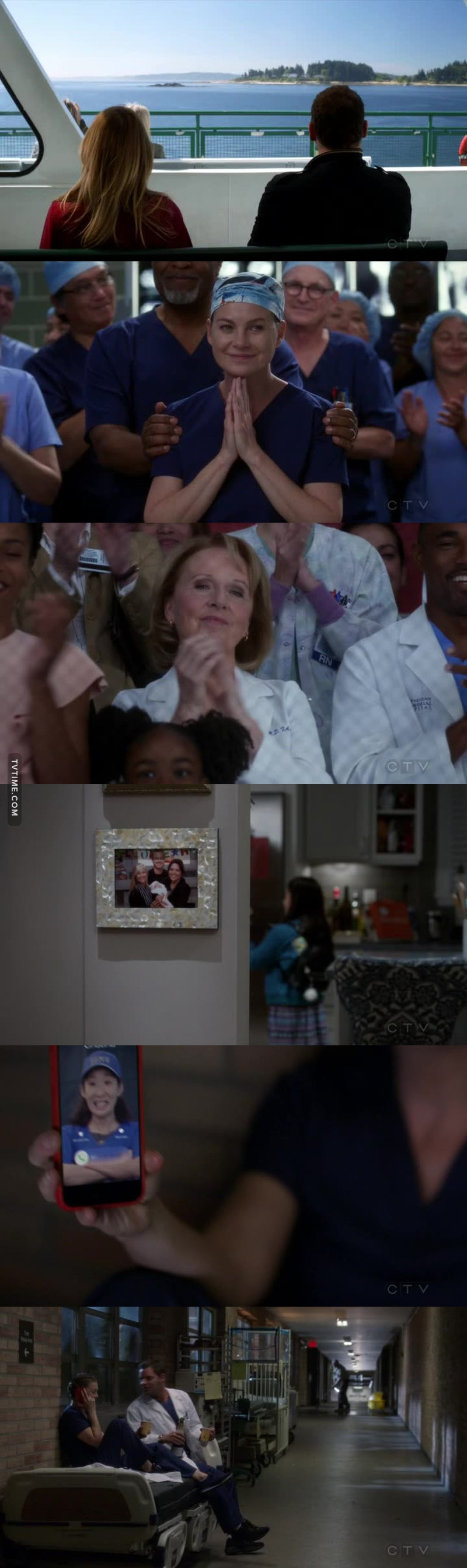 The ferry boat, the original theme song, references to Lexie, George, Cristina, Mark, Callie, Izzie, Meredith winning the Harper Avery, Mer seeing her mother and knowing she's finally proud of her, Cristina calling. This episode was perfect! Such a nostalgic feeling of the okd greys I really LOVE IT.