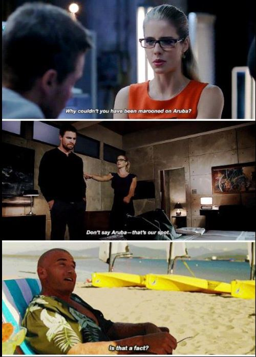 I need a conversation between Felicity and Mick about Aruba 😂