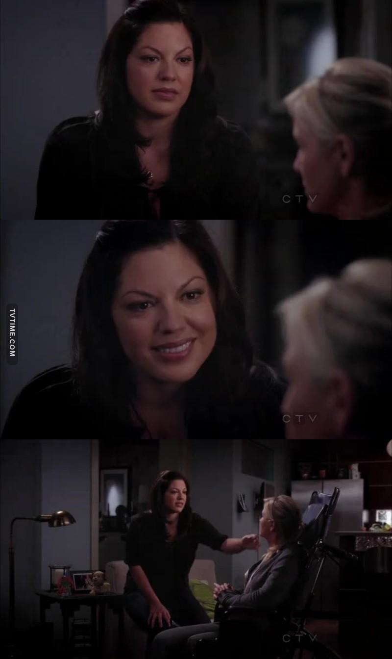 Callie perdeu Mark e tá passando por essa situação horrível com a Arizona, isso tudo com uma filha pequena e sendo mto forte até agora   QUE MULHER