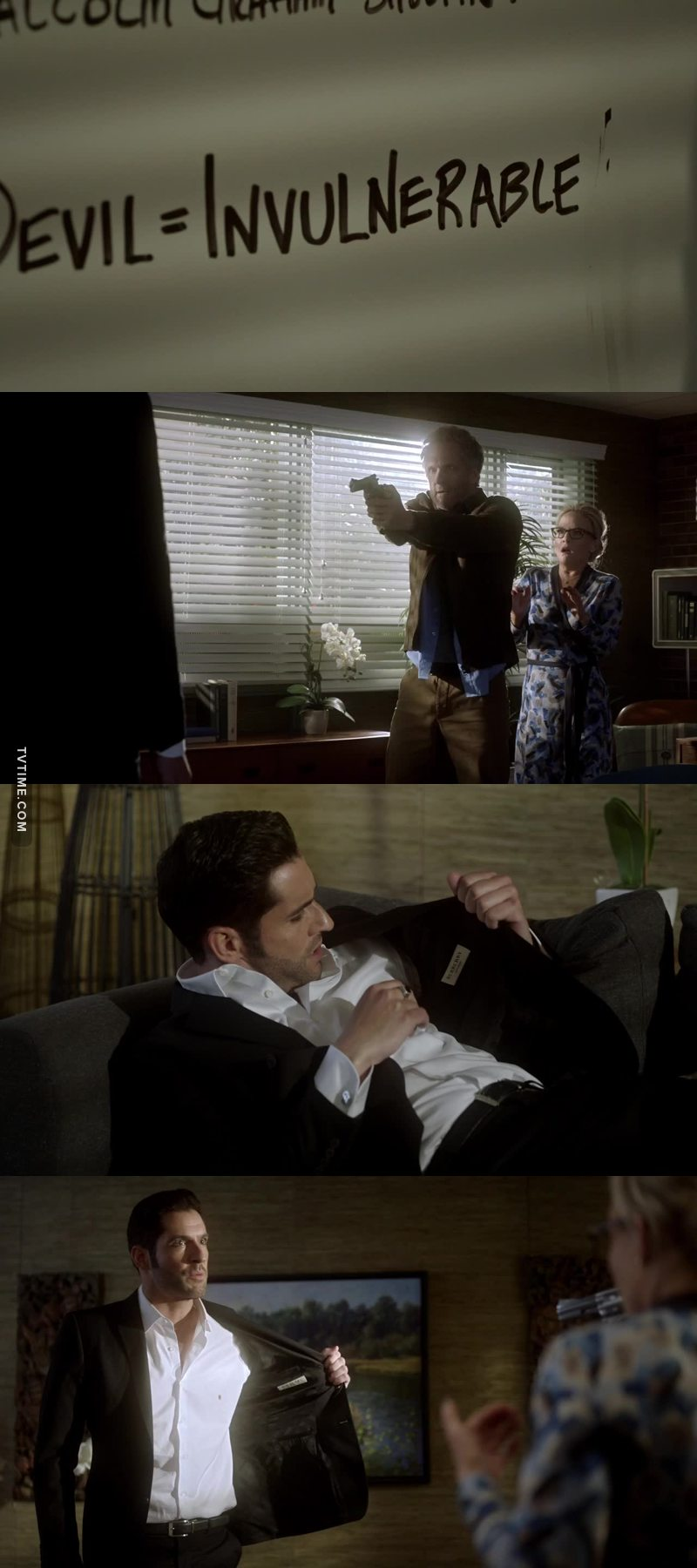 Only Lucifer would be more worried about his clothes than being shot. 😂