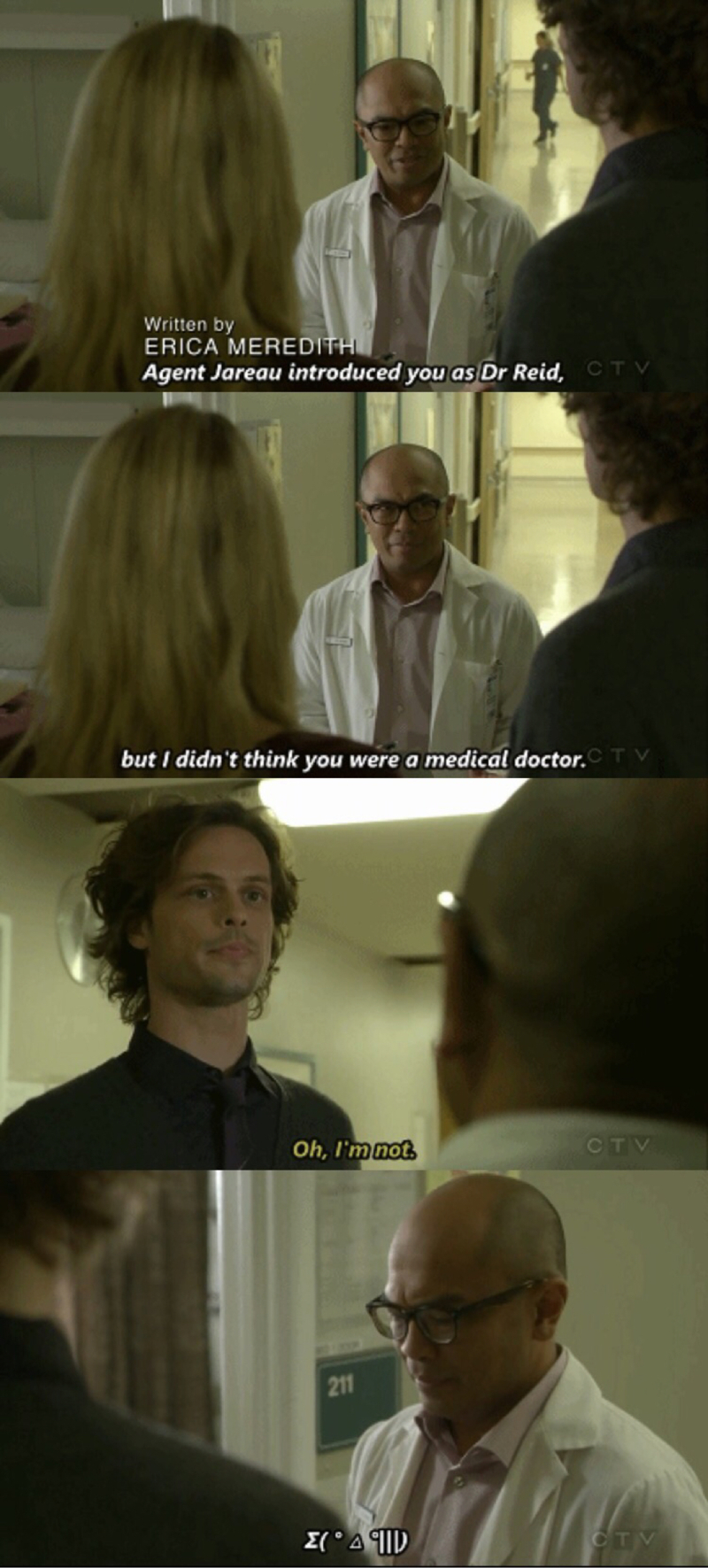 Reid: *rambles* Rossi: English, kid? LOL classic Dr Reid and Rossi just read my mind! ( I was wondering how to post a gif I've just made😂 newbie me😂😂)