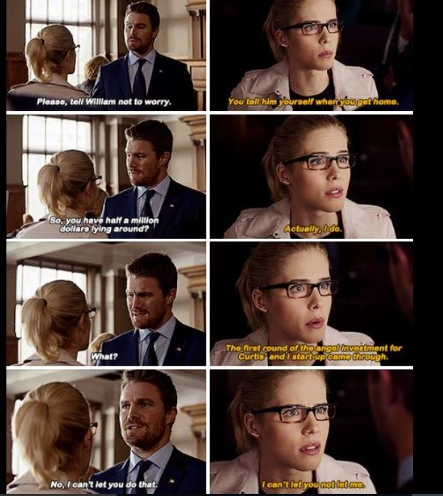 Felicity using her start up money to bail her future husband out 😭 💚
