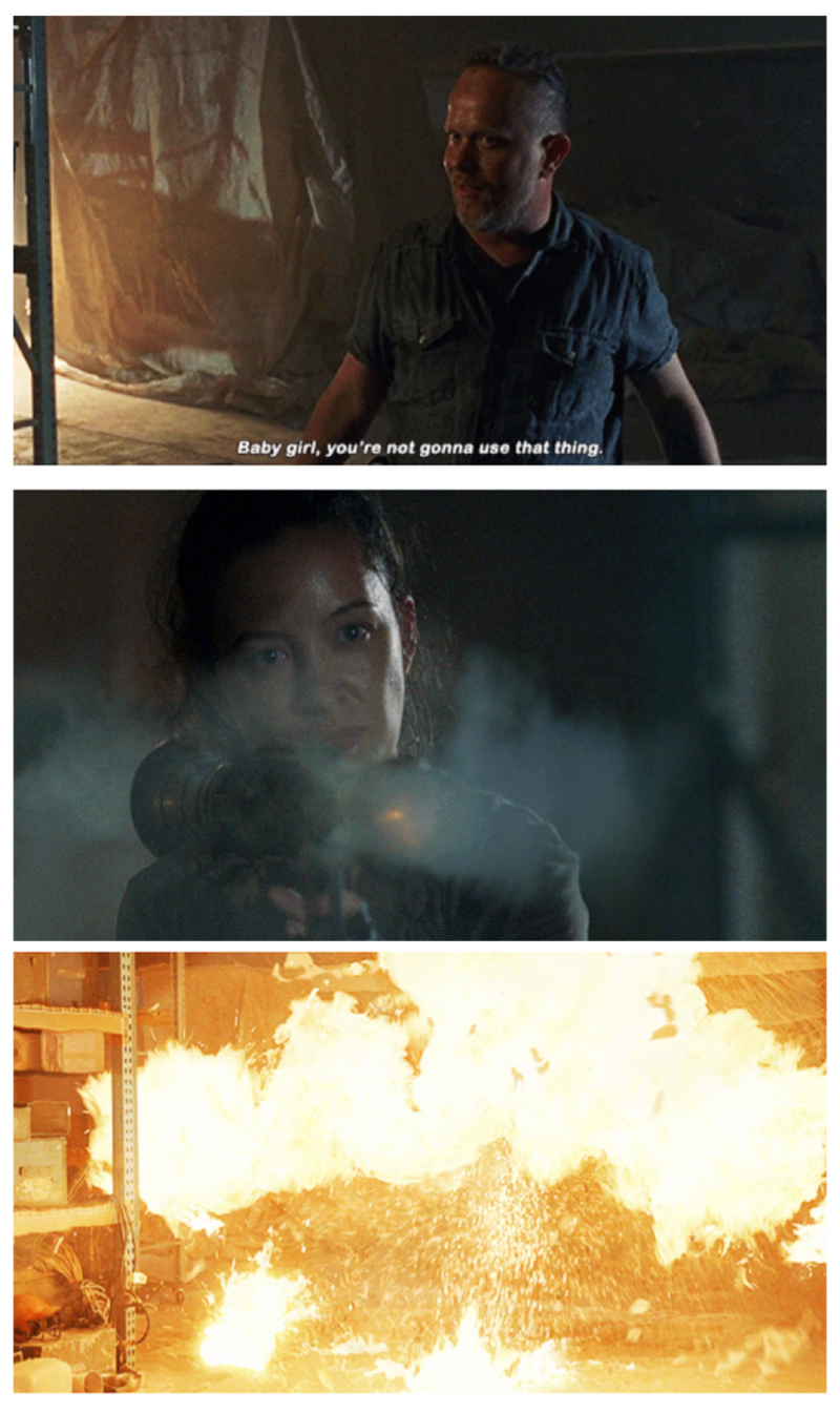 Not even one blink 💪🏻😎  Rosita is the definition of BADASS 👏🏻😅