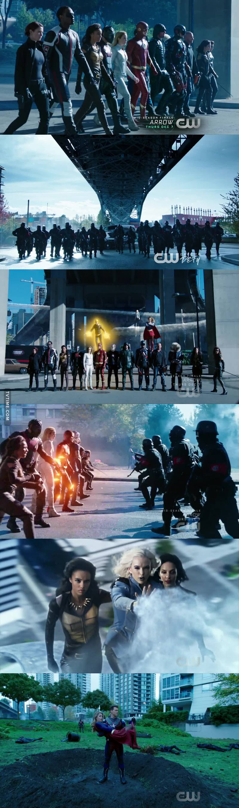 The fight scene in the end was so good! Loved the entrance of all the superheroes, Killer Frost making an ice path to the evil Waverider and the Steel Man catching The Girl of Steel. All in all a great end to a great crossover👏🏼