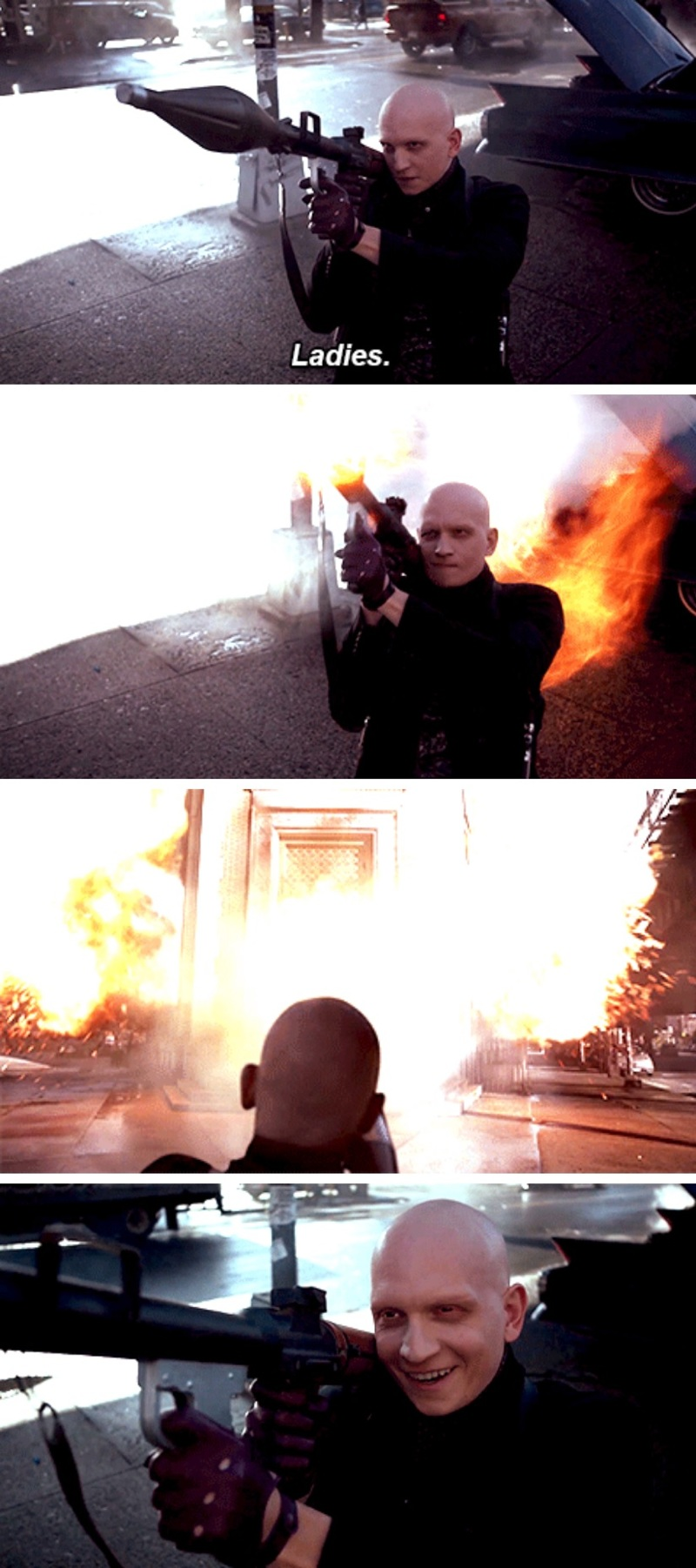 Zsasz & his rocket launcher 💕 He's like a baby in a toy store 😃😄