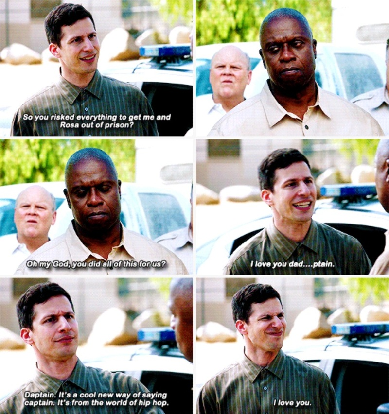 "Jake failing to not call Holt ""dad"" 😄😊 I just love them so much 🤗"