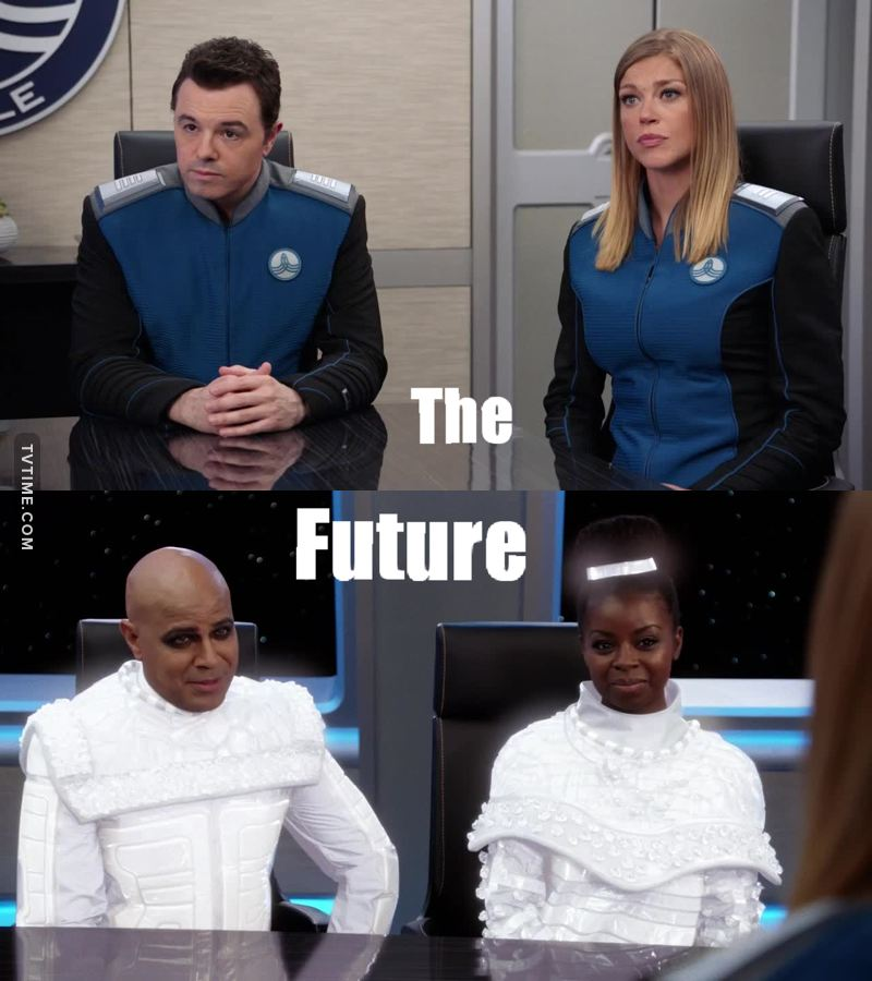 Man, The Orville is exceeding my expectations! This was a much needed episode, especially in the era of Trump, to hear that humanity can endure hatred, corruption and toxic religions that propagate fear and hatred, to enter an age of peace, humanity and unity for all.  Salute!