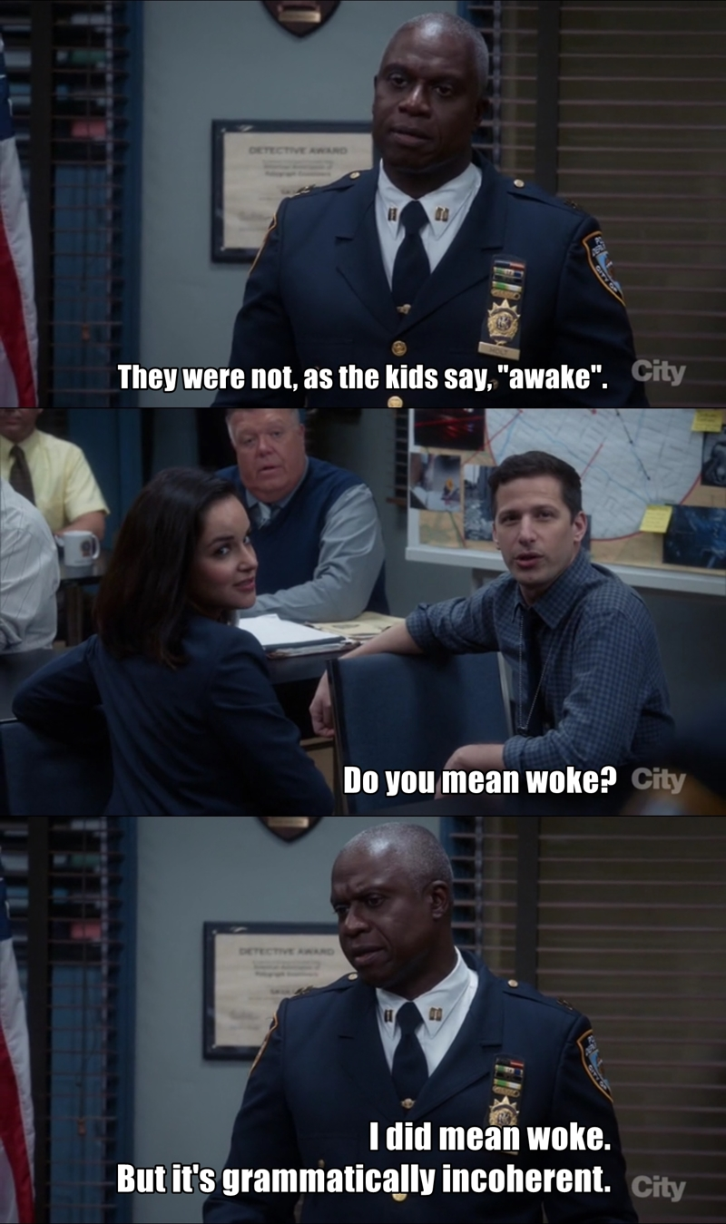 Image result for brooklyn 99 woke