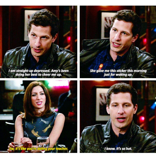 "This show is just SO GOOD! I always have such a great time watching the episodes. It just never loses the fun. To me, this is the best comedy show I've ever seen.  P.S.: I love the little ""insights"" on Jake and Amy's relationship, haha.  (gifset credits to http://lizzymindy.tumblr.com/post/131460380998)"
