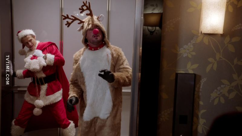 """""""Just so you know, we're not weird"""" said the reindeer who punched a moving bag held by Santa in an elevator.  Sure jan."""