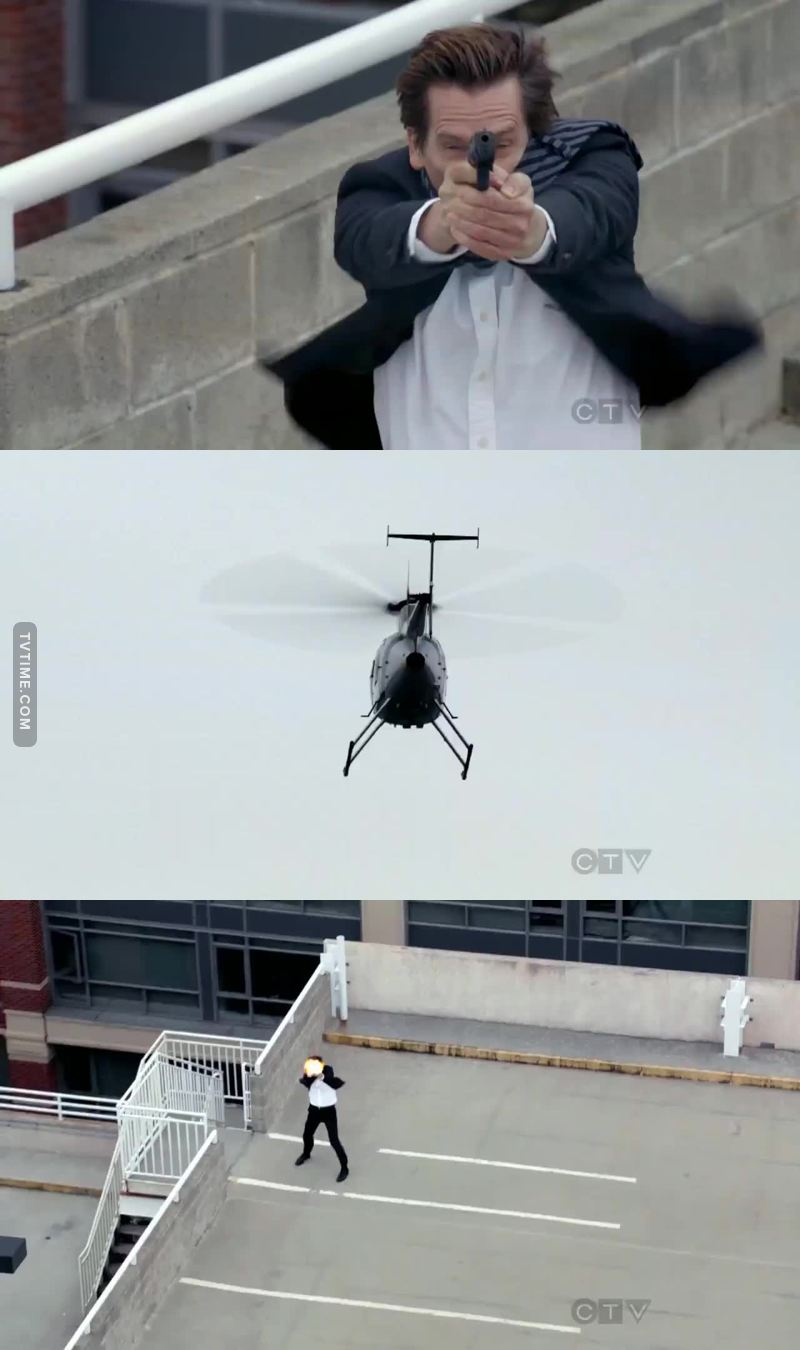 Yeah sure, shoot the helicopter but not the car tires when they were taking joey away