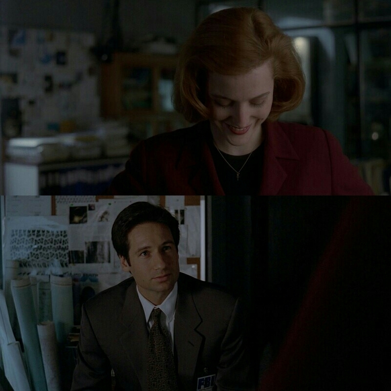 Scully: I'm just constantly amazed by you. You're working down here in the basement, sifting through files and transmissions that any other agent would just throw away in the garbage.   Mulder: Well, that's why I'm in the basement, Scully.   Scully: You're in the basement because they're afraid of you, of your relentlessness, and because they know that they could drop you in the middle of the desert and tell you the truth is out there, and you'd ask them for a shovel.  HELLO YES I LOVE THEM SO MUCH!