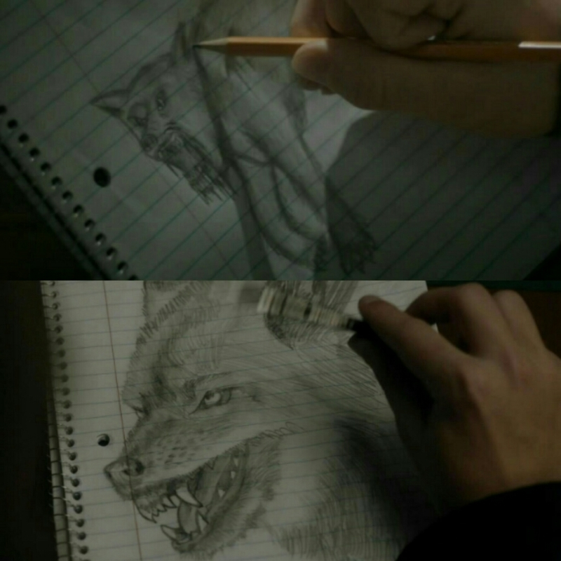 1x01 | 1x11  andy's been drawing wolves since the first episode. FENRIS RISE.