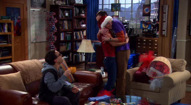 Sheldon hugging Penny!